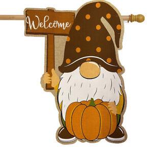"Fall Gnome Burlap House Flag Autumn Welcome Pumpkin 28"" x 40"" Briarwood Lane"