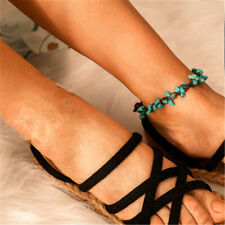 Bohemian Turquoise Beads Shell Anklet Wax Bracelet Adornment Beach Foot Z