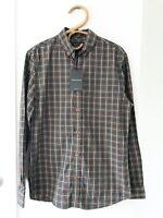 SPORTSCRAFT Mens Size S Forest Green Long Sleeve Button Up Checked Shirt BNWT