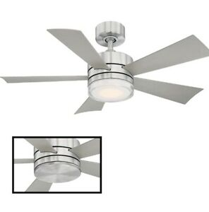 """Modern Forms Wynd 52"""" 5 Blade Indoor / Outdoor Smart LED Fan Graphite/gray"""