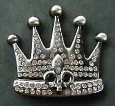 Royal Royalty Rhinestone Crown Fleur De Lis Belt Buckle Boucle de Ceinture