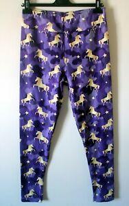 Unicorn Leggings Size UK 14/16 Purple BNWOT Stretch Skinny Leg