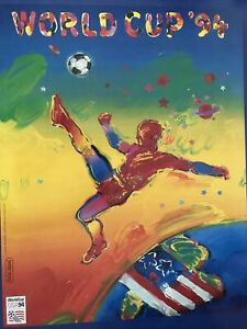 """WORLD CUP 1994 US SOCCER PROMO POSTER BY PETER MAX. 1994. NEAR MINT 22"""" x 27.5"""""""