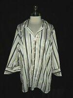 NEW LANE BRYANT Plus Size 4X 26 28 Blouse Shirt Top Ivory Striped Long Sleeve