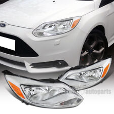 2012-2014 Ford Focus Diamond Headlights Chrome Head Lamps Clear US & Canadian