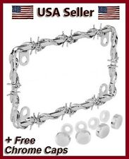BARBED WIRE CHROME METAL LICENSE PLATE FRAME HARLEY DAVIDSON HONDA & YAMAHA caps