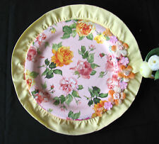 HANDMADE DECORATIVE CERAMIC PLATE ACRYL MULTI COLORS LACE AND FABRIC FLOWERS