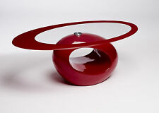 DESIGNER Oval Coffee Table Red Safety Glass Contemporary Living Room Storage