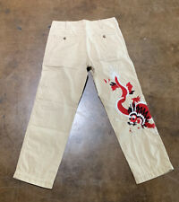 $750 Gucci Khaki Washed Dyed Cotton Pants Dragon Size US 34, Made in Italy