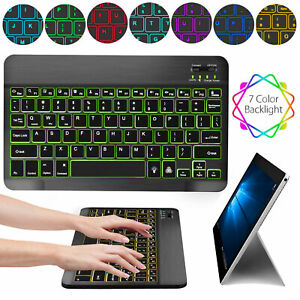 Wireless Bluetooth 3.0 Keyboard Slim Backlit For PC Windows Android iOS Mac iPad