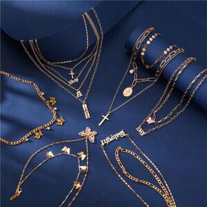 Bohemian Geometric Multilayer Pendant Chain Necklace Fashion Jewelry Women Gift