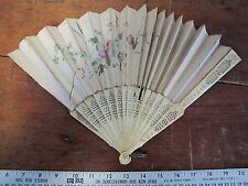 1880's Antique Carved Cow Bovine Bone Hand Painted Flowers Silk Hand Fan 20 inch