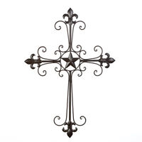 Wrought Iron Lone Star Fleur De Lis Wings of Devotion Wall Décor Cross
