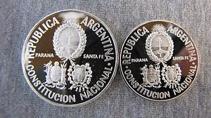 Argentina 1994 Proof set of silver 2 and 5 Pesos. Rarely offered !