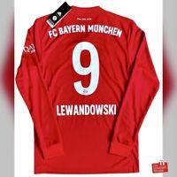 Adidas Bayern Munich 2019/20 L/S Home Jersey - Lewandowski 9. BNWT, Size S.