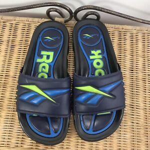 Vintage Wavey 90's Reebok Slides Sandals Slip On Big Logo Blue/Green UK5 EU-37.5