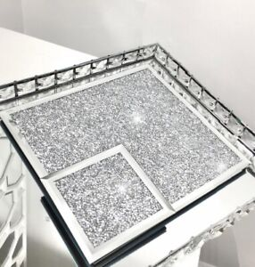 Set of 2/4/6 SILVER COASTER TABLE MAT Crushed Diamond Romany Dining placemat NEW