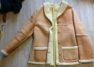 Vintage Womens/Mens Size S/M Genuine Leather Coat Jacket Shearling Sheepskin