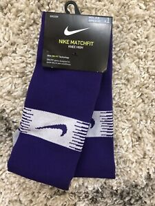 NIKE TEAM MATCHFIT SOCKS SOCCER FOOTBALL SX6836 547 PURPLE/WHITE M(6-8) $20