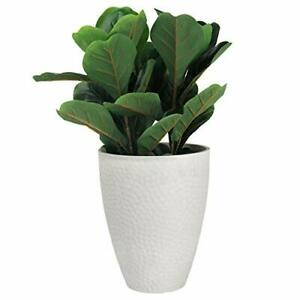 Tall Planter - 14.2 Inch Large Indoor & Outdoor Tree Planter, White Stone