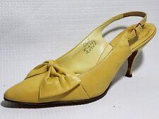 Julianelli Yellow Leather Kitten Heels Slingback Peep Toe Shoes 6.5 B Bow Italy