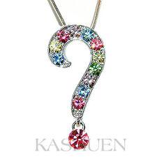 Rainbow QUESTION MARK made with Swarovski Crystal Necklace Jewelry Xmas Gift New