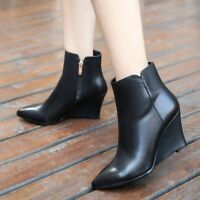 Ladies Leather Chelsea Ankle Boots Pointed Toe Party High Wedges Combat Shoes