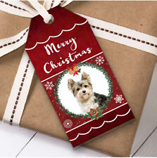 Biewer Terrier Dog Christmas Gift Tags (Present Favor Labels)