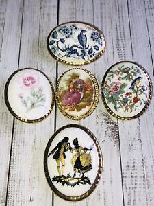 Vintage Jewellery Job Lot Of Five China Brooch Pins