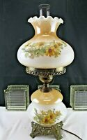 Vintage 70's GWTW Style Electric Table Lamp Yellow Roses on Milk Glass