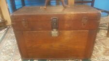 Antique Vintage Drawer Wood Tool Chest Oak Wooden Machinist Tool Box with tools