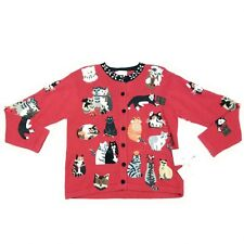 Susan Bristol Vtg NWT Cats Not Ugly Christmas Cardigan Sweater Small S Red