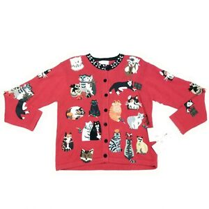 Susan Bristol Vintage NWT Cat Christmas Cardigan Sweater Petite Small PS Red