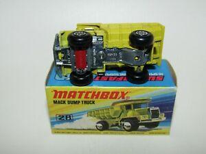 "Matchbox Superfast No 28 Mack Dump Truck RED Axle Clip RARE ""I"" Box VNMIB"