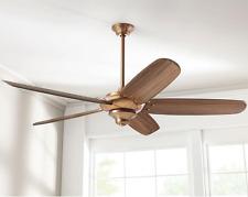 "68"" Large Hand Carved Wooden Ceiling Fan + Remote Rustic Cabin Vintage Copper"