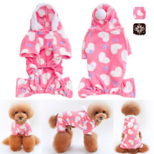 Small Dog Pajamas Love Heart Fawn Print Soft Jumpsuit Indoor Puppy Clothes S-2XL