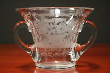 Heavy Swedish late 19th century cut crystal vase egraved flowers Celtic handles