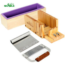 Making Loaf Tube Soap DIY Tool 4 Sets Wooden Cutter Box Stainless Steel Blades