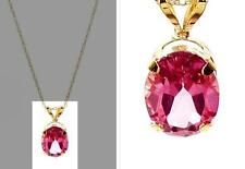 Savvy Cie 14K Yellow Gold 2.2 Ct Hot Pink Mystic Topaz Pendant Necklace NWT $599