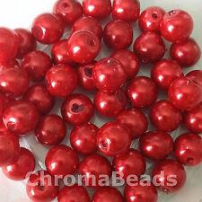 10mm Glass faux Pearls - Scarlet (40 round beads) jewellery making, craft, red