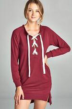 Women's Large Burgundy Cozy Tunic Top Sweatshirt Long Sleeve Soft Warm Pullover