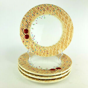 Oneida Ice Cream Cone Dessert Plates Sprinkles Set of 4
