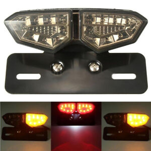 Motorcycle Brake Tail Turn Signal License Plate Integrated Smoke LED Light Clear