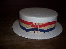 Man'S Vintage Styrofoam Hat-Campaign Hat -4Th Of July Hat? Red,White& Blue Band