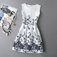 2018 Summer Autumn New Womens Dress Vintage Digital Evening Party Print Dresses