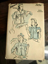 Vtg. 1940s Advance Pattern #3096 Size 36 32*34 bust small Swing Top
