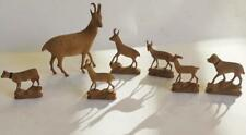 Antique Miniature TINY Hand Carved Wood Deer Elk Goat Dog Cow Figurine Lot of 7