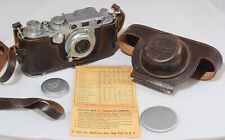 Vintage Leica IIIf 35mm Camera with 5cm Leitz Lens, Red Synchro-Dial, Case 1950s