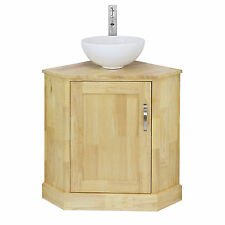 Bathroom Corner Vanity Unit Solid Oak & Round Wash Basin Ceramic Sink Tap & Plug