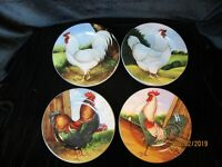 SAKURA ON THE FARM CHICKENS ROOSTERS BY DAVID CARTER BROWN 11 SALAD PLATES 8 1/4